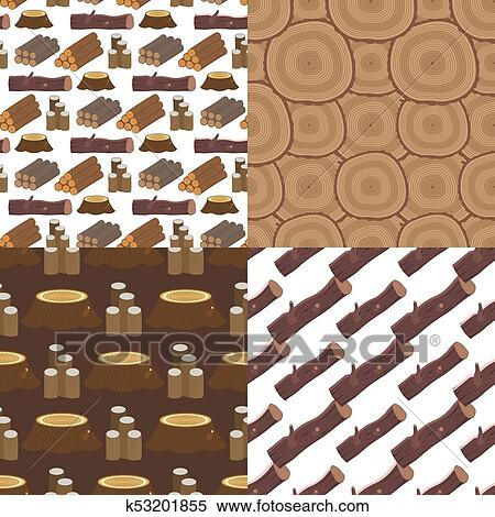 Stacked Wood Pine Timber For Construction Building Cut Stump Lumber Tree Bark Seamless Pattern Background Vector Illustration Clipart K53201855 Fotosearch