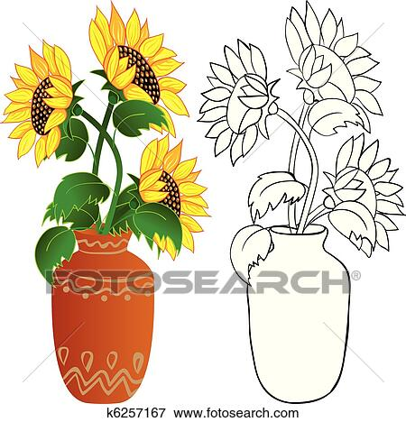Clip Art Of Sunflower In Vase K6257167 Search Clipart