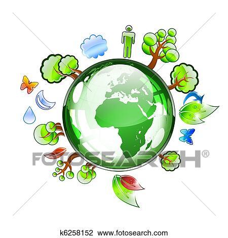 Terre Planète à Usines Et Arbres Dessin