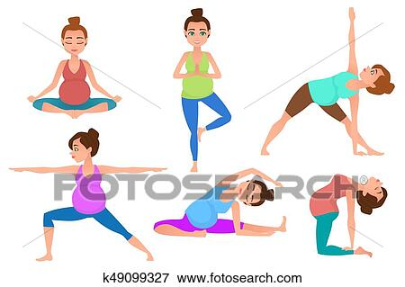 young pregnancy woman meditation in yoga poses clip art