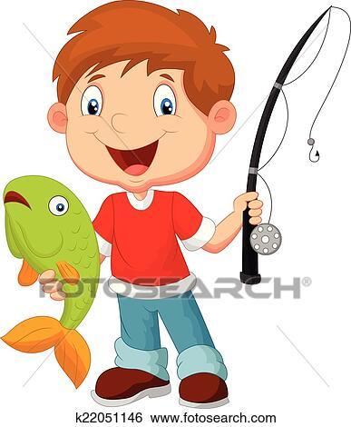 الولد الصغير صيد السمك Clip Art K22051146 Fotosearch