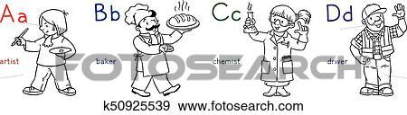 Clip Art Abc Berufe Ausmalbilder Set K50925539 Suche Clipart