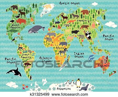 Animal Mapa De Mundo Para Criancas E Criancas Clipart