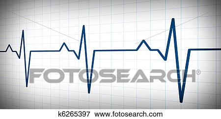 Audio or pulse beat wave simple graph Stock Illustration on