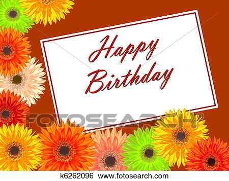 Birthday Card With An Colorful Gerbera Flowers