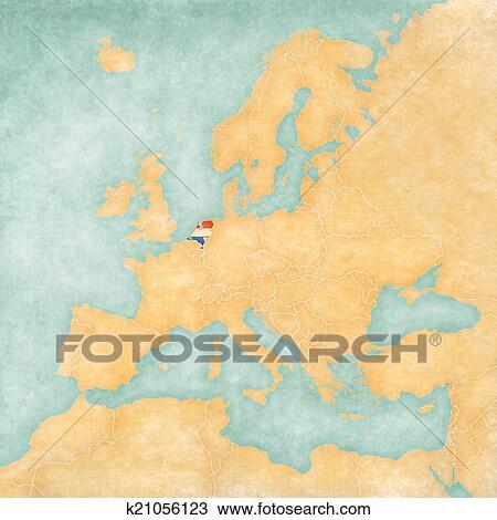 Carte Europe Pays Bas.Carte De Europe Pays Bas Vintage Series Dessin K21056123