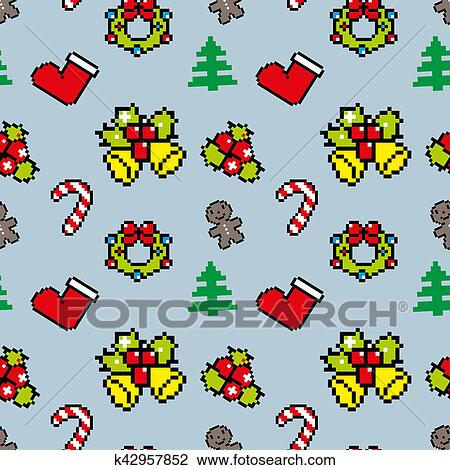 Fond à Noël Symboles Pixel Art Hiver Modèle Bleu Couleur Dessin