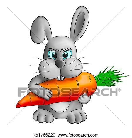 Funny Cartoon Rabbit With Carrot Clipart K51766220 Fotosearch