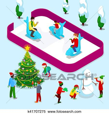 Clipart isom trique patinoire gens et enfants k41707275 recherchez des clip arts des - Dessin patinoire ...
