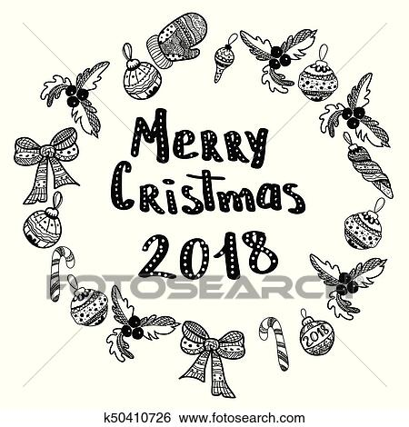 Clipart Joyeux Noel 2018 Main Dessine Conception Elements