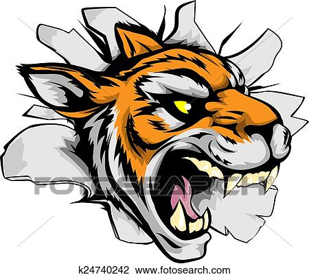 clipart of tiger sports mascot breaking out k24740242 search clip rh fotosearch com Tiger Clip Art Black and White Tiger Mascot Clip Art