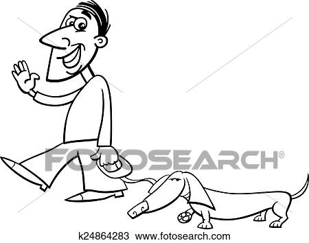 Man With Dachshund Coloring Page Clipart
