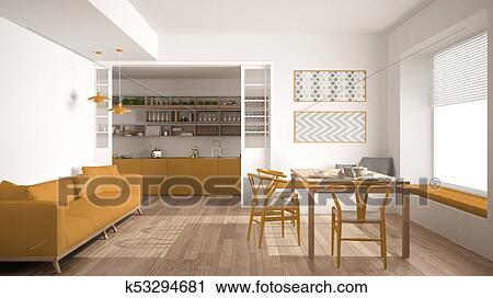 Minimalista, cucina, e, soggiorno, con, divano, tavola, e, sedie, bianco  giallo, moderno, disegno interno Clip Art