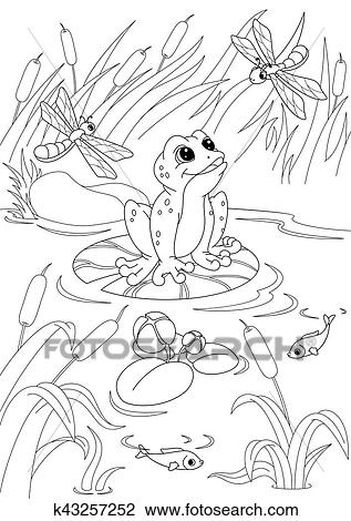 Pond Coloring Page Clipart