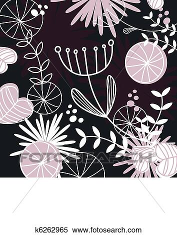 Clipart Of Retro Floral Pattern Or Backround Black White And Pink