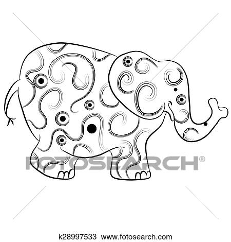 Simple Elephant Outline Zentangle Style Clipart
