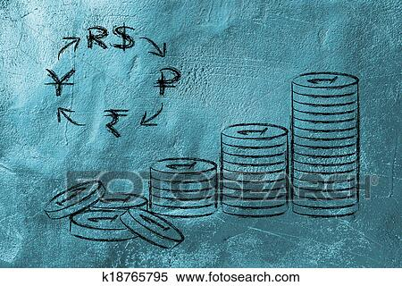 Stock Illustration Of Stack Of Coins And Brics Currency Symbols