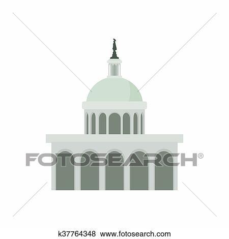 stock illustration of white house in washington dc icon cartoon rh fotosearch com