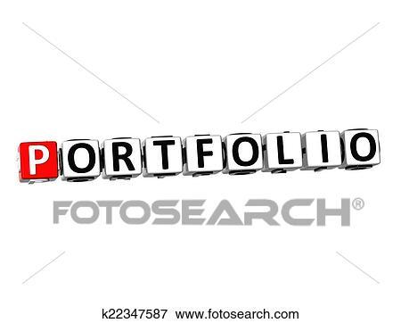 stock illustration of 3d word portfolio on white background