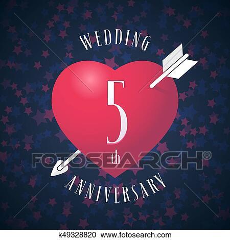 Anniversario 5 Anni Matrimonio.5 Anni Anniversario Di Essendo Sposato Vettore Icona