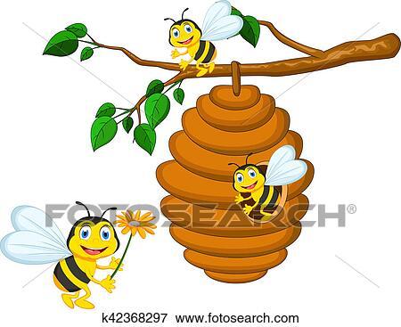 Banque d 39 illustrations abeilles dessin anim avoirs - Dessin de ruche d abeille ...