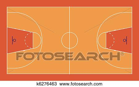 drawing of basketball court k6276463 search clipart illustration