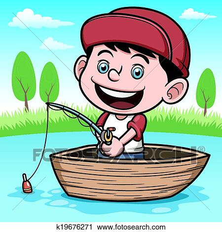 clipart of boy fishing k19676271 search clip art illustration rh fotosearch com boy fishing clip art free boy with fishing pole clipart
