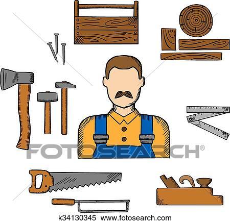 Clipart carpintero con madera y herramientas for Gato de carpintero