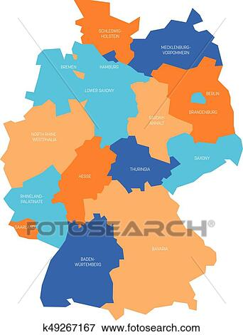 Carte Allemagne Simple.Carte De Allemagne Devided A 13 Federal Etats Et 3 City States Berlin Bremen Et Hambourg Europe Simple Plat Vecteur Carte