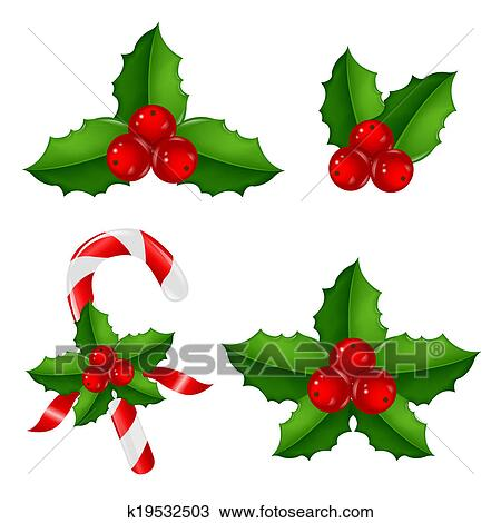 drawing of christmas holly berry set k19532503 search clipart