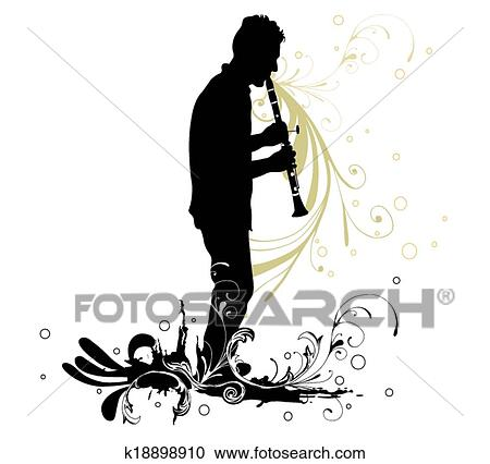 clipart of clarinet player k18898910 search clip art illustration rh fotosearch com clarinet playing clipart