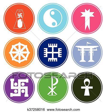Clip Art Of Colorful Symbolic Religious Symbols K37258016 Search