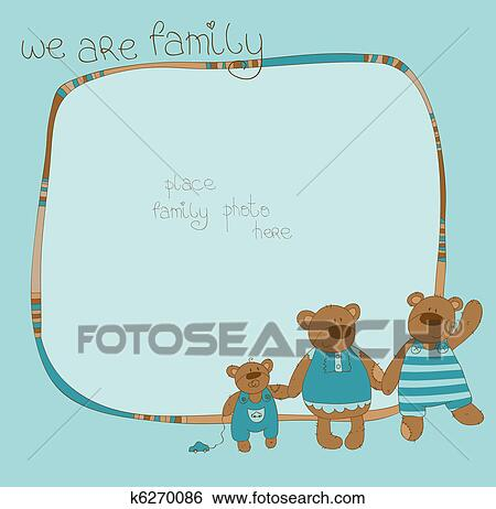 Clip Art Of Cute Family Bear Photo Frame K6270086