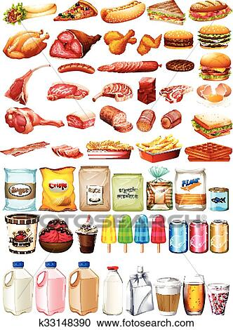 Clipart Of Different Type Of Food And Dessert K33148390 Search