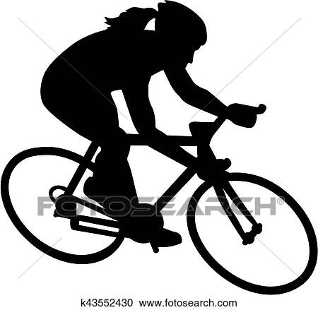 Clipart Of Female Bike Bicycle Cyclist K43552430