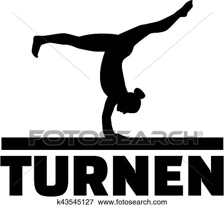 clip art of gymnast at balance beam with german word for gymnastics