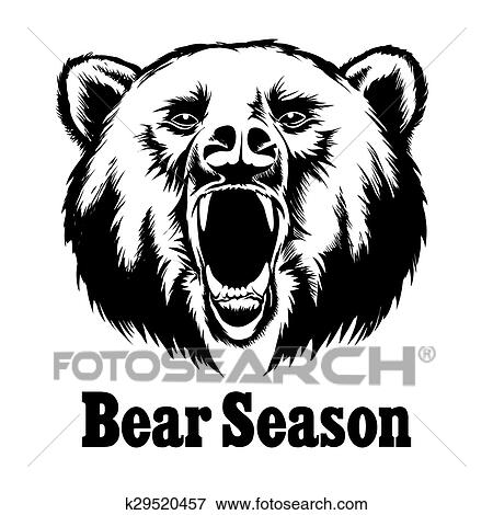 Clip Art Of Hand Drawn Vector Roaring Bear T Shirt Design K29520457
