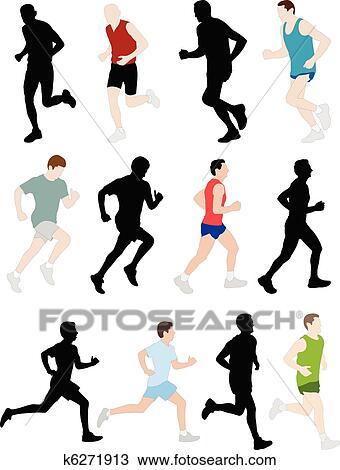 Clipart Of Marathon Runners K6271913
