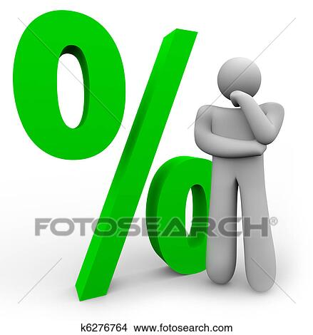 Drawings Of Percentage Sign Thinking Man And Percent Symbol