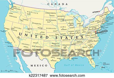 Usa Cartina Politica Con Capitali.Stati Uniti America Mappa Clip Art K22317487 Fotosearch