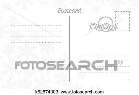 Winter Greeting Postcard Back Template With Snowflakes