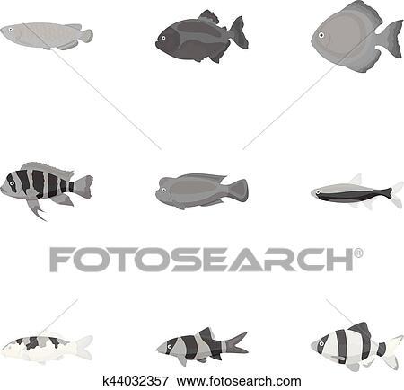 Clip Art Of Aquarium Fish Set Icons In Monochrome Style Big