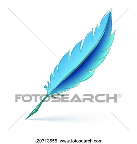 80aa3bd73b195 Blue feather pen Clipart