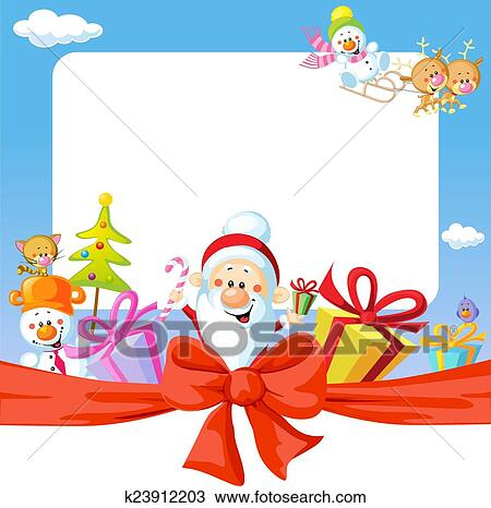 Christmas Frame Wit Santa Claus And Gifts Funny Vector Background Illustration Clipart