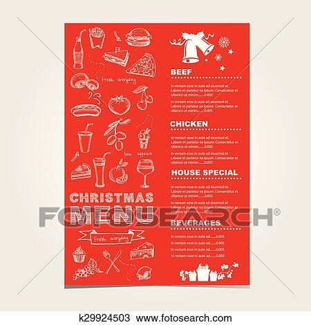 Christmas Restaurant Poster.Christmas Restaurant And Party Menu Invitation Clipart
