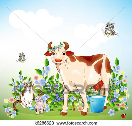 country life cat kitten and cow clipart  k6286623