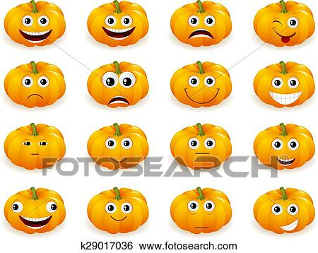 halloween pumpkin faces with emotions isolated Clip Art