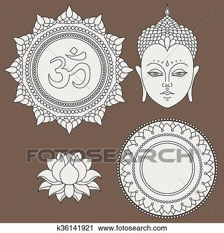 Clipart of head of buddha om sign hand drawn lotus flower om sign hand drawn lotus flower isolated icons mightylinksfo