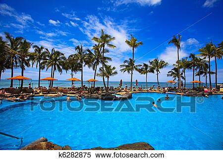 Swimming Pool On Waikiki Beach Hawaii Stock Photography