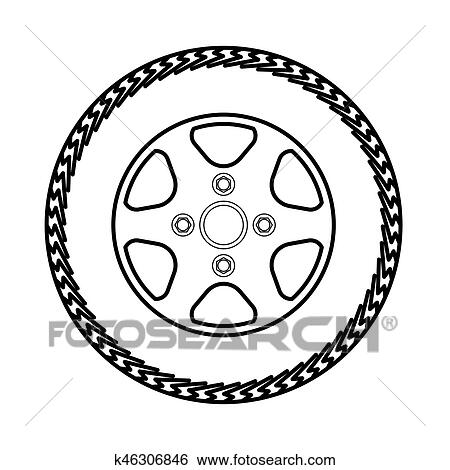 clip art of tires and wheels vector illustration k46306846 search rh fotosearch com tired clipart tire clipart